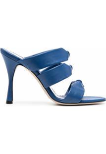 Manolo Blahnik Sandália Slip-On De Tiras Metálicas - Azul