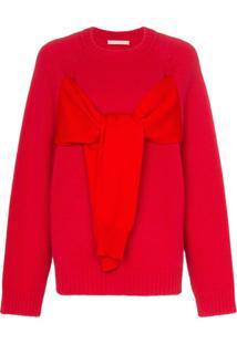 Christopher Kane Suéter Com Amarração - Vermelho
