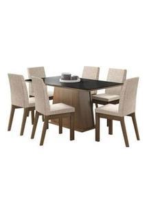 Conjunto Sala De Jantar Madesa Milena Mesa Tampo De Vidro Com 6 Cadeiras Rustic/Preto/Fendi Rustic