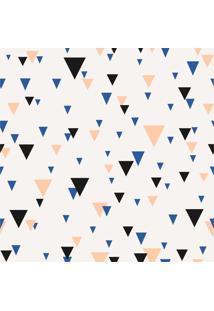 Papel De Parede Adesivo Triângulos Bege Azul E Preto (0,58M X 2,50M)