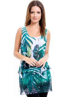 Blusa Regata 101 Resort Wear Tunica Crepe Saida De Praia Estampada Verde