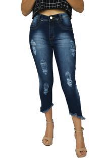 Calça De Cintura Alta Emane Modas Hot Pants Destroyed Azul Marinho