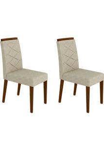 Conjunto Com 2 Cadeiras Caroline Ii Castanho E Creme