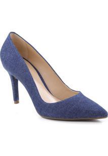 Scarpin Jeans Com Recortes- Azul Escuro- Salto: 8,5Carezzo & Co.