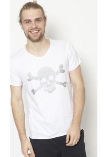 Camiseta Em Boton㪠Caveira- Branca & Cinza - ÊNfaseãŠNfase