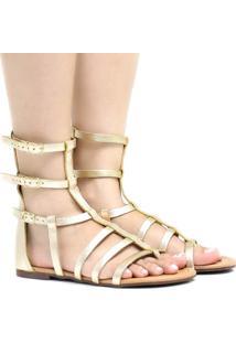 Sandália Zariff Shoes Gladiadora Dourado