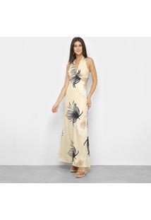 Vestido Vida Bela Longo Palm - Feminino-Bege