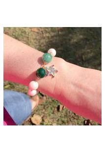 Pulseira Estrela De Pérolas E Pedra Natural Jade