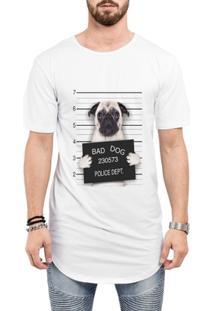 Camiseta Criativa Urbana Long Line Oversized Engraçadas Bad Dog Pug Preso - Masculino
