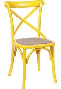 Cadeira Cross- Amarela & Bege- 89X55X49Cm- Or Deor Design