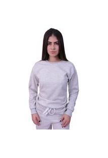 Blusa Moletom Plus Size Lisa Fechada Cinza