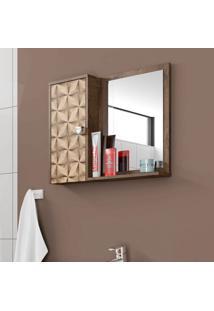 Armário Para Banheiro Gênova Madeira Rústica E Madeira 3D