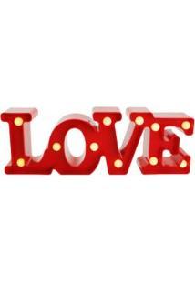 Luminária Love Com Leds Vermelha 20X12Cm