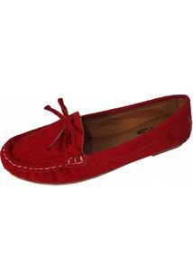Sapatilha Mocassim Moda Pã© Costurado à Mã£O Vermelho - Vermelho - Feminino - Dafiti