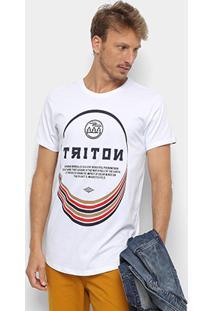Camiseta Triton Estampada Oversized Masculina - Masculino-Branco