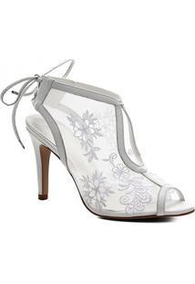 Sandália Couro Shoestock Noiva Lace Feminina - Feminino-Branco