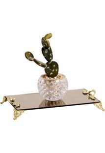 Bandeja Espelhada Bronze 12X22Cm Com Alças Douradas Cr Vidros