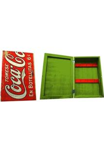 Porta Chaves Armário Coca Cola Vintage Vermelho E Verde