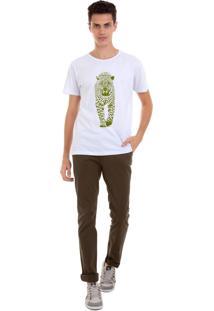Camiseta Masculina Joss Onça Verde Branco
