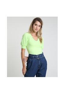 Blusa Feminina Cropped Canelada Manga Bufante Decote V Verde Neon