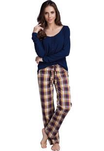 Pijama Longo Inspirate Xadrez Carivelo Marinho
