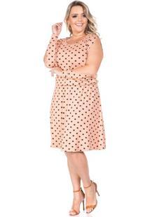 Vestido Poá Rose Plus Size