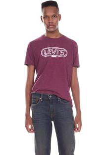 Camiseta Levis Logo Circle Masculina - Masculino-Bordô