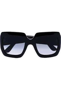 Gucci Eyewear Black Square Gg Acetate Sunglasses - Preto