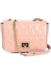 Bolsa Couro Jorge Bischoff Mini Bag Verniz Feminina - Feminino-Rosa Claro