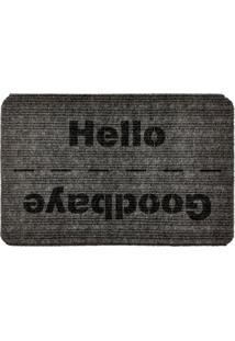 Capacho Carpet Goobaye/Hello Cinza Único Love Decor