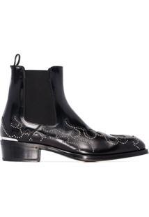 Alexander Mcqueen Ankle Boot Flame De Couro - Preto
