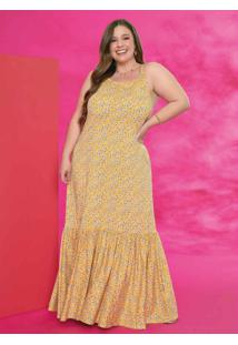 Vestido Longo Floral Amarelo Com Alças Plus Size