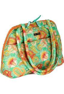 Bolsa Handbag Ana Viegas Tecido Ombro Zíper Espaçosa Feminina - Feminino-Verde