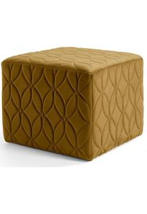 Puff Decorativo Para Sala De Estar Quadra Tress㪠Veludo B-260 - Lyam Decor - Amarelo - Dafiti