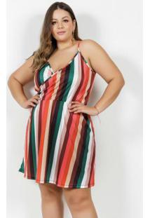 Vestido Curto Listrado Com Alças Plus Size