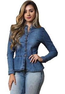Camisa Jeans Tyn Feminina - Feminino-Azul