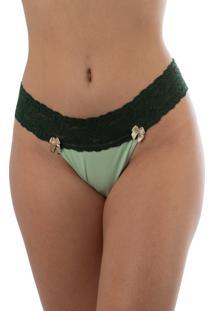 Calcinha Fio Dental Thais Gusmã£O Vintage Amor Verde - Verde - Feminino - Dafiti