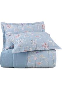 Jogo De Colcha King Altenburg Essence 200 Fios 100% Algodão Camp De Fleurs - Azul Azul