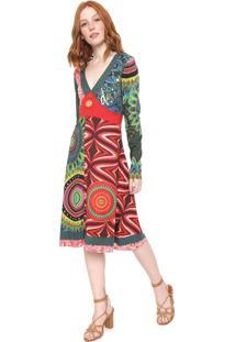 Vestido Desigual Midi Hanaleis Bay Rep Verde