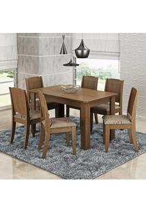 Conjunto Sala De Jantar Mesa 6 Cadeiras Bárbara Cimol Color Flex Savana/Café/Branco