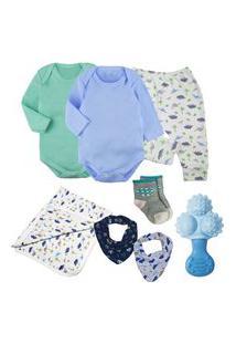 Kit Maternidade Roupa De Bebê 8 Pçs Enxoval Body Acessórios Azul