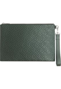 Burberry Clutch Com Padronagem Monogramada - Verde