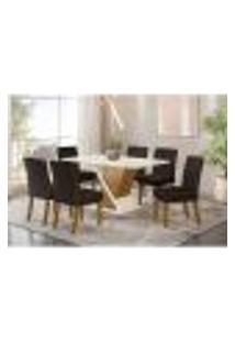 Mesa De Jantar Solus Com 6 Cadeiras Maris - Nature/Off White/Marrom