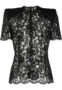 Dolce & Gabbana Structured-Shoulder Lace Blouse - Preto
