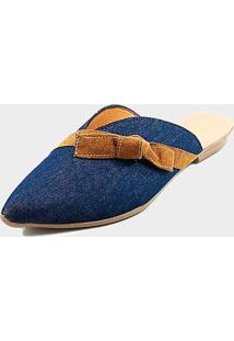Mule Sapatilha Feminina - Jeans Com Tira Laço Caramelo Marinho - Kanui