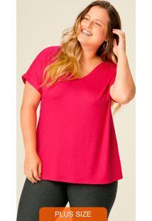 Blusa Rosa Botonê Com Decote V Plus