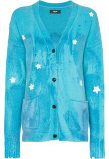 Amiri Cardigan Com Bordado De Estrelas - Azul