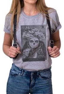 T-Shirt Joss Mescla Premium Catrina - Feminino-Cinza