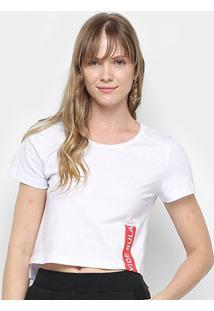 Camiseta Cropped Vide Bula Feminina - Feminino-Branco