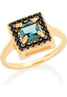 Anel Skinny Ring Cristal Azul E Zircônias Negras Rommanel - Feminino-Dourado